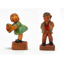 Anri Vintage Miniature Boy & Gi 1930s Colored Carved Wood
