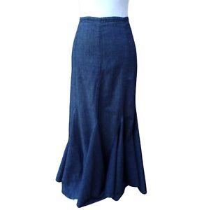Per Una M&S Denim Maxi Skirt Size 12R Blue Kick Flare Boho Gypsy