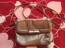 Coach Kristin Mettalic Bronze Leather Crossbody Handbag ~ Purse~ Swingpack
