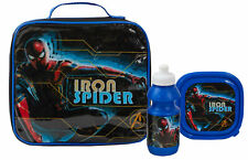 Spiderman 3 Piece Lunch Bag Set Kids Marvel School Lunch Box + Water Bottle Set