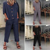 Mode Femme Combinasion Demi Manche Boutons Poche Coton Jambe Large Pantalon Plus