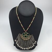 Kuchi Necklace Afghan Ethnic Tribal Fashion Green Color Glass ATS Necklace KN450