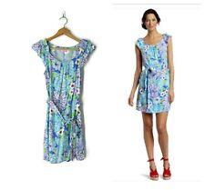 3e69fc8f05de Lilly Pulitzer Maya Dress Worth Blue May Flower size S ruffle sleeve sash  belt