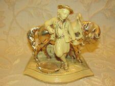 Un Eichwald Pottery Horse et Man Group Porte-pipe, match holder-c1900