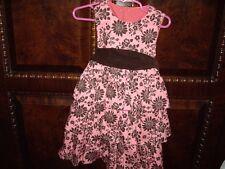 EUC Girls Size 3-4 Kelly's Kids Summer Joann Dress Pink Brown 3 Tiers Sibling