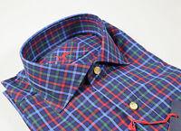 Camicia Ingram vestibilità slim fit collo francese Blu a quadri in puro cotone