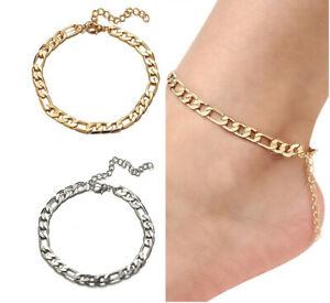 Anklet Bracelet Foot Chain Link Adjustable Silver Gold Jewellery
