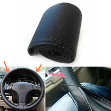 Car Auto Steering Wheel Cover  Leather Wrap With Needles and Thread Black DIY IU