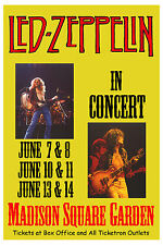 Robert Plant, Jimmy Page Led Zeppelin at Madison Square Garden Tour Poster 1977