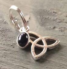 Black Onyx Charm & Silver Tibetan Triquetra Jump Ring Charm Wicca Pagan Goth
