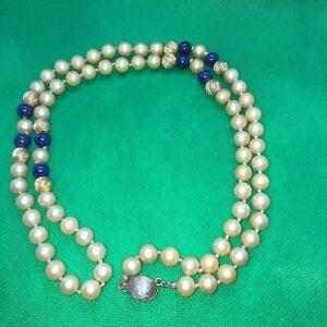 Vintage LES BERNARD Faux Pearls  Fluted Gold Ball Blue Lapis Lazuli Necklace