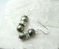 "Pyrite Faceted Ball Gemstone & Rhinestone .925 Sterling Silver Earrings 1 1/2"""