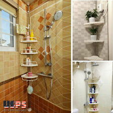4 Tiers Shower Corner Pole Caddy Shelf Holder Bathroom Storage Rack Organizer US