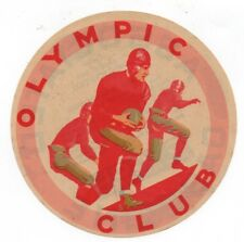 Large 1930s Asso Gasoline Luggage Label Football Schedule Olympic Club SF CA