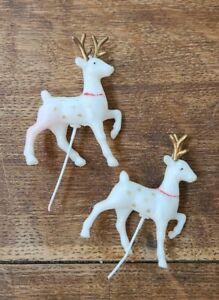 Vintage Holiday Christmas Cupcake Picks Cake Toppers White Reindeer Hong Kong