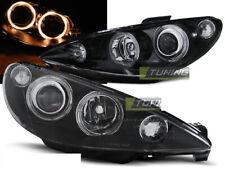 Headlights for Peugeot 206 02-Angel Eyes Black WorldWide FreeShip US LPPE27 XINO