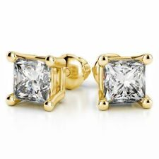 Classy 1/2 Cts Princess Cut Natural Diamond Stud Earrings In 18Carat Yellow Gold