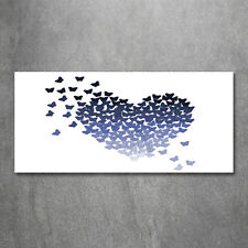 Glas-Bild Wandbilder Druck auf Glas 120x60 Deko Kinderzimmer Schmetterlinge Herz