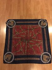 Vintage 80s 90s Gucci Silk Horsebit Scarf Wrap With Paolo Gucci Signature Rare
