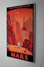 Retro Tin Sign Wall Decor Space Crimson Canyons of Mars Metal Plate