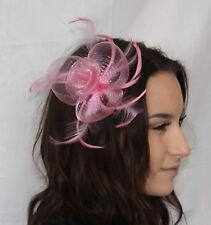 Pastel Pink Light Pink Net Flower Feather Fascinator on Hair comb Weddings Dance