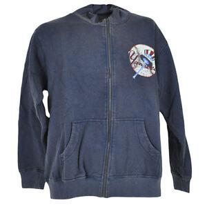 MLB New York Yankees Distressed Faded Zipper Sweater Vintage Jacket Fleece