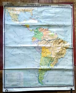 1988 Latin America The Political Map for Middle School, USSR Soviet era 1.1x1.4m
