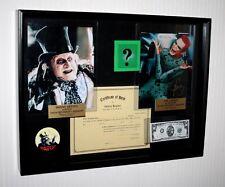 BATMAN (4) Props! JIM CARREY, DANNY DEVITO Signed, COA, UACC, blu DVD, Shadowbox