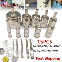 15pcs Diamond Hole Saw Drill Bit Set Glass Ceramic Tile Saw Cutting Tool 3-42mm