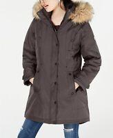 $119 NEW Madden Girl Womens Faux Fur Hooded Puffer Coat Jacket Parka - Gray