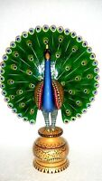 Beautiful Dancing Peacock Wooden Hand Painted Home Sculptures Figurines Statue