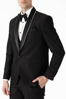 Jack Martin - Black Slim Fit 3 Piece Dinner Suit with Handmade Glitter Trim
