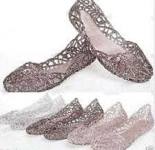 Womens Hot Sale Ventilate Crystal Shoes Jelly Hollow Sandals Flat Shoes 36-40