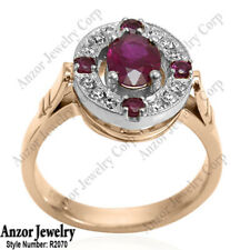 Ruby, Russian Style Ring Zinaida Design 14k Solid Rose and White Gold