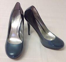 Jessica Simpson Sz 8.5 M Black Green Gray Blend Patent Leather Heels Pumps