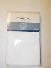 QUEEN PILLOWCASE PAIR, 200 THREAD COUNT cotton rich NEW with Tags Artic White