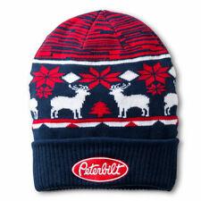 Peterbilt Motors Trucks Red, White & Blue Ugly Sweater Winter Beanie Cap new hat