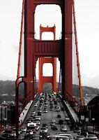 GOLDEN GATE BRIDGE SAN FRANCISCO CARS SF A3 ART PRINT POSTER YF5221