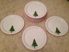 "Waechtersbach Spain 12 White Christmas Tree Snow 10"" Dinner Plates"