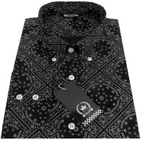 Relco Black White Paisley Geometric Long Sleeve Shirt Button Down Collar Mod Vtg