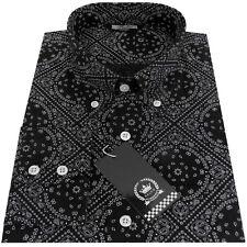 Relco Mens Black & White Paisley Geometric Long Sleeve Print Shirt Mod Vintage
