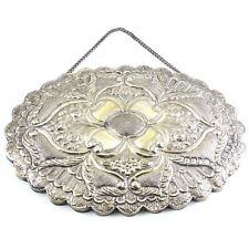 Repousse Floral Hanging Wedding Mirror, 900 SILVER, 19th Century Ornate Classic