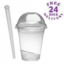 50 x 10oz Smoothie Cups with Domed Lids & Jumbo Straws Milkshakes Sweets Juice
