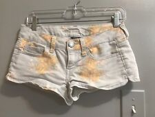 American Eagle Outfitters Women's Light Blue Floral Stretch Short Shorts -Size 2