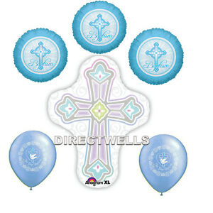 Baptism Blue Foil / Mylar and Latex Balloons Valued Pack ( 6 Balloons )