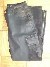 Kate Spade black coated shiny cargo pants ankle zip New  size 28