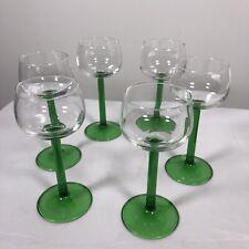 """Vintage 70's LUMINARC FRANCE Emerald Green Stem  7"""" Wine Glasses Set of 6"""