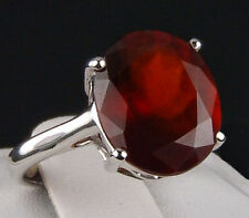 5.40ct Genuine Ciana Hessonite Garnet Solitaire 10k Solid White Gold Ring Size 5