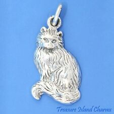LONG HAIRED KITTY CAT KITTEN .925 Sterling Silver Charm Pendant MADE IN USA