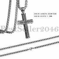 """Mens Vintage Stainless Steel Religious Large Cross Pendant Necklace 22"""" Chain"""